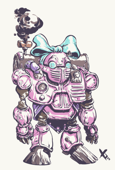 """Atropos XR! Good chance to make some alterations to the factory model for a little extra personality. I considered changing the stereotypical pink but seeing how there are a lot of female character in this game, having one be a more """"typical"""" girl and, even better, going the robot route did seem like a good thing to keep"""