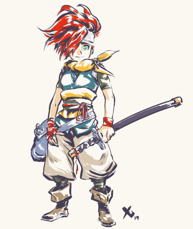 Since Crono is a silent character, this is a perfect opportunity to introduce some player choice. I designed Female Crono to offer some contrast with her male counterpart but still retaining the characters flavor