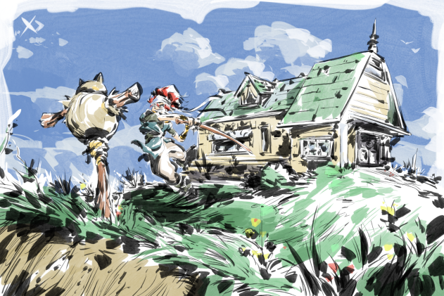 I love the idea of Crono living a bit of a secluded life (if you notice, his house is a bit farther from Guardia than most) working on his swordmanship skills and not taking care of the yard