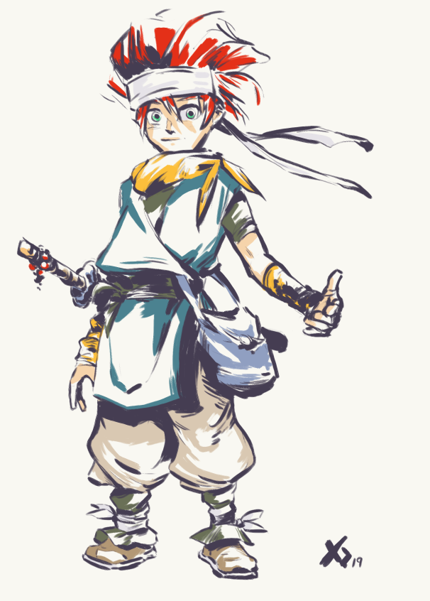 Crono needs to read as a samurai fanboy. Make the clothes a little oversized, make him look a little bit messy. He needs to pull off a look that works when hes a noob and a badass when hes going through fools with the rainbow sword