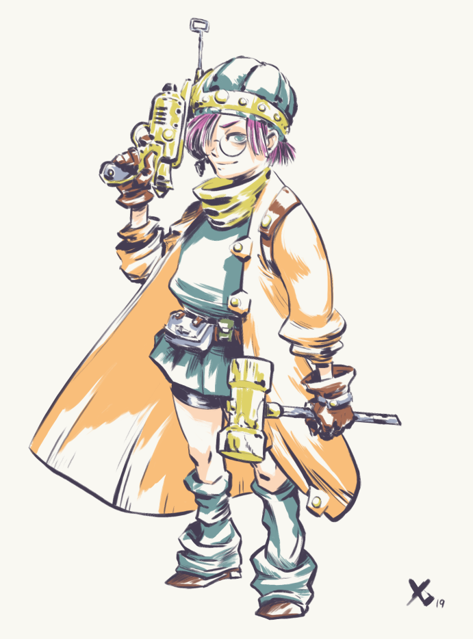 CT really overdoes it by giving everyone the same overall scarf fashion so I want to make the characters feel a bit more different. Lucca needs to feel a bit more sciency, maybe a bit sleep deprived and give you a sharp contrast from Marle. I imagine shes wearing her dads lab coat, hence why it looks a tad too big on her