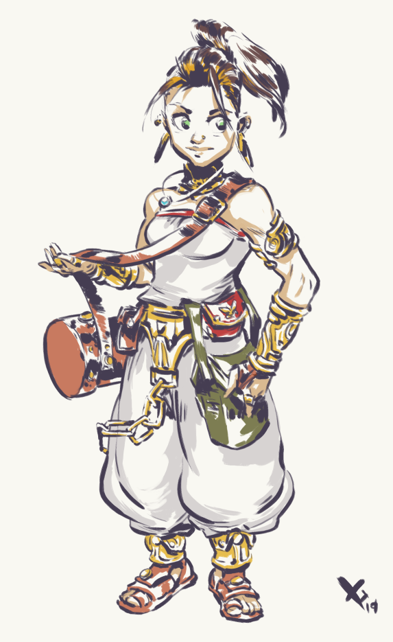 Marle is running away from home, so I imagine her trying a little harder to pass of as a local but not doing a great job, that includes a rushed hair recolor and not realizing she shouldnt leave the castle with all that jewelry on
